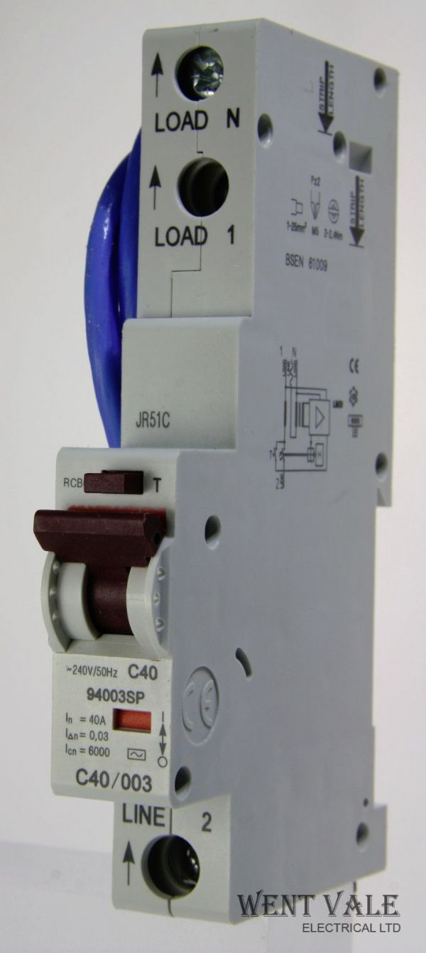 Contactum 94003SP-C40/003 - 92118193 - 40a 30mA Type C Single Pole RCBO Unused